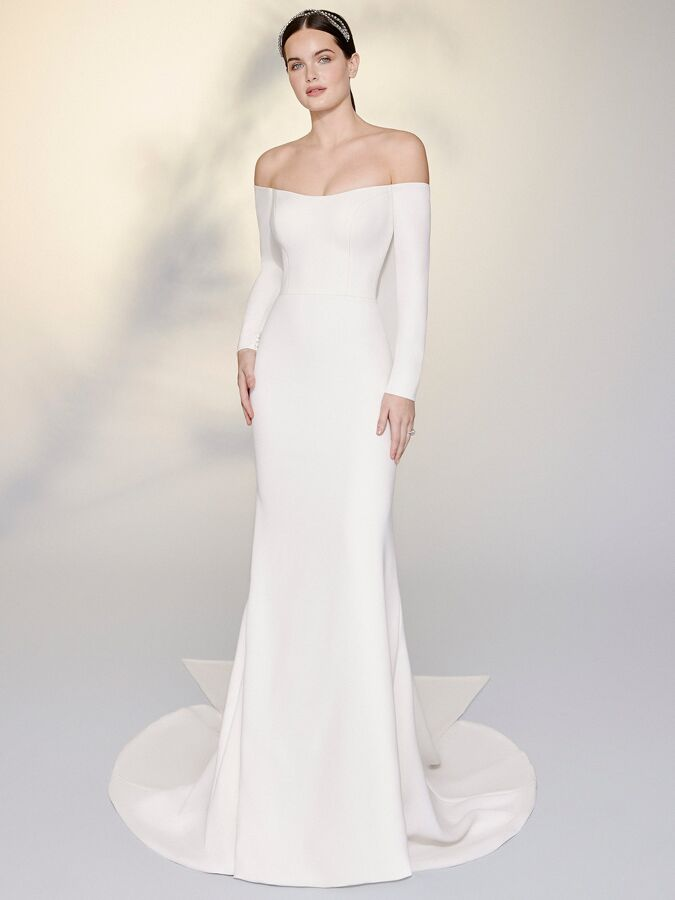 Justin Alexander Signature stretch crepe fit-and-flare wedding dress