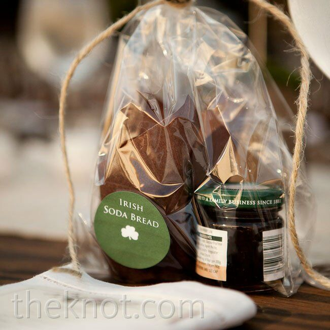 Terren's aunt baked Irish soda bread scones as favors, which were packaged with mini jars of jam.