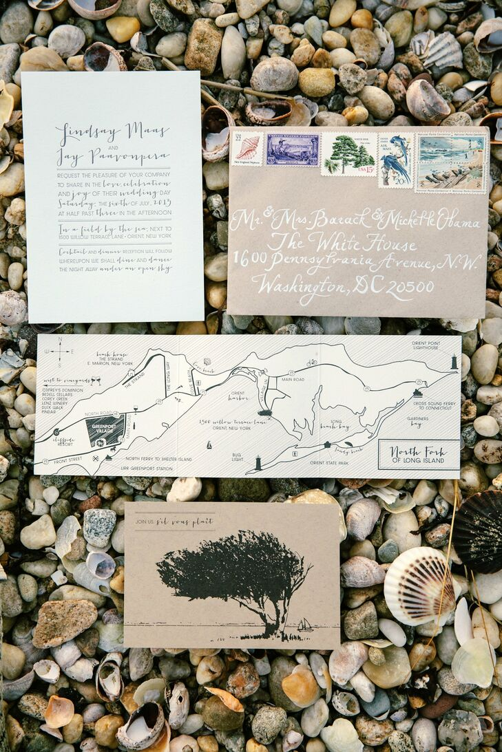 The design of Lindsay and Jay's invitation suite matched their backyard venue and casual-chic vibe.