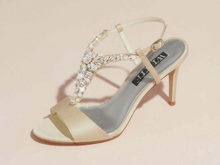 Silver jeweled wedding heels