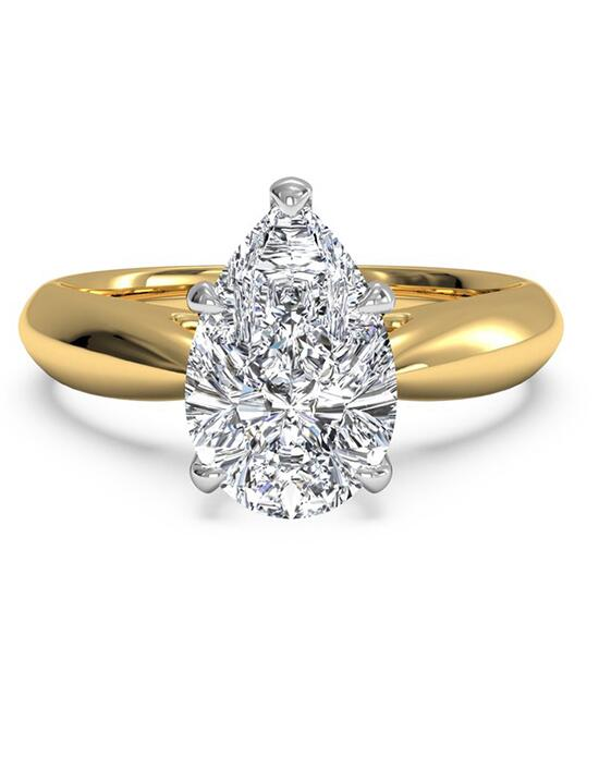 Ritani Solitaire Diamond Cathedral Tapered Engagement Ring - in 18kt Yellow Gold for a Pear Center Stone Engagement Ring photo