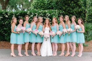 Jim Hjelm Mint Chiffon Bridesmaid Dresses