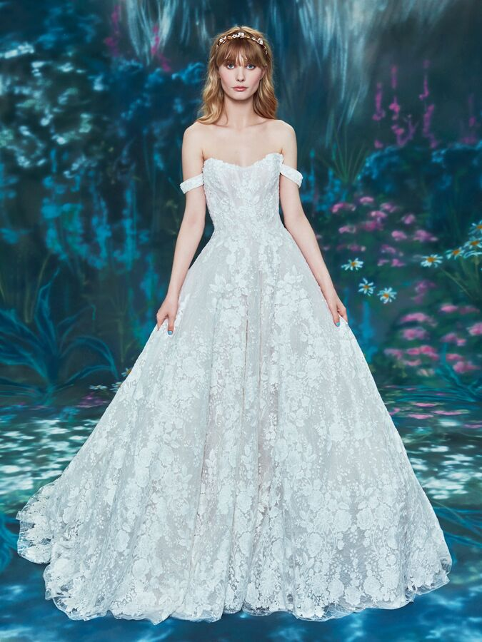 Ines Di Santo off-the-shoulder ball gown with scoop neck