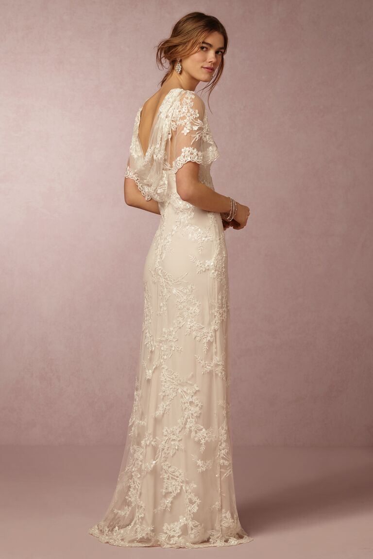Marchesa Notte x BHLDN lace wedding dress with cowl back