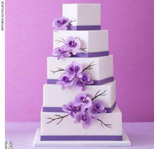 Lavender orchid wedding cake