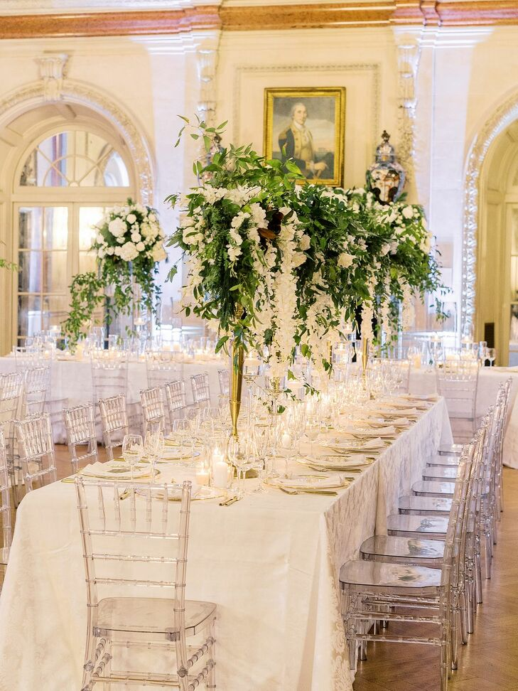 White-Hued Wedding Reception with Lucite Details