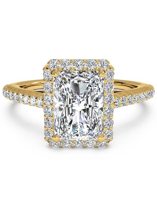 Ritani French-Set Halo Diamond Band Engagement Ring - in 18kt Yellow Gold (0.21 CTW) for a Radiant Center Stone Engagement Ring photo