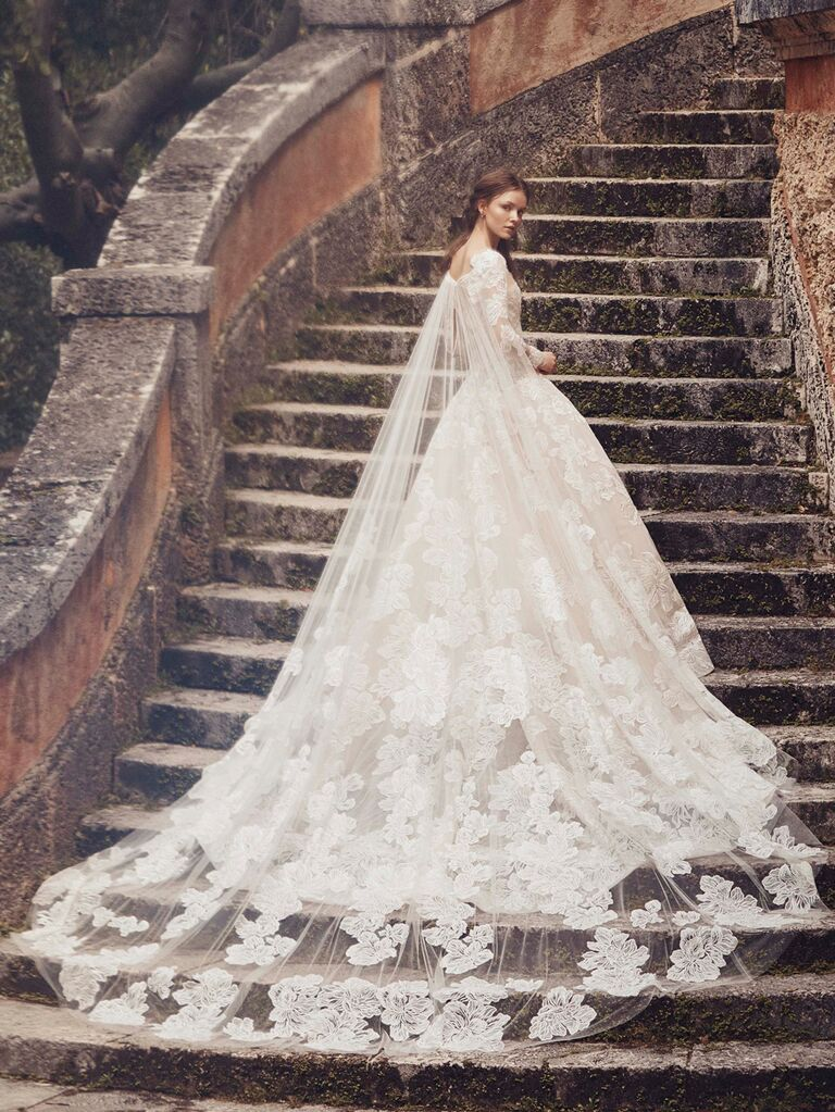 Monique Lhuillier Spring 2020 Bridal Collection lace ball gown wedding dress with train