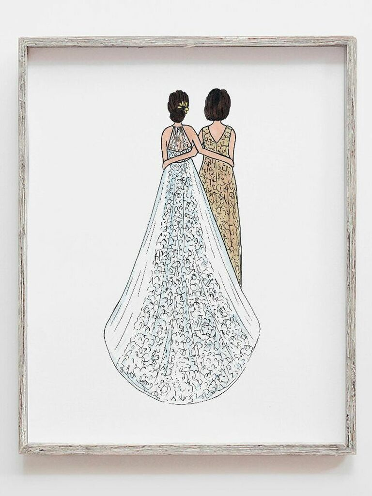 Custom illustration of bride and new mother-in-law gift idea