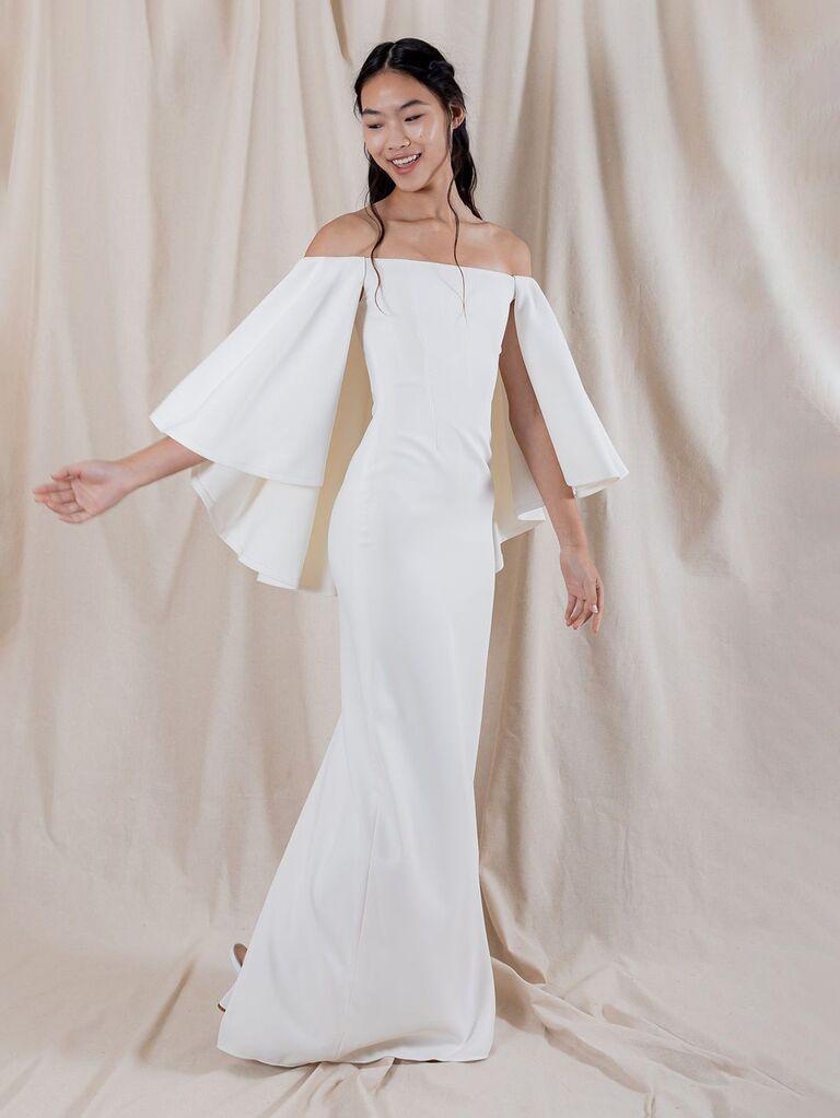 váy cưới trễ vai katharine polk trơn màu trắng với tay áo dài giữa và váy vừa vặn váy cưới màu trắng đẹp