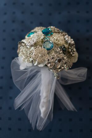 Brooch Bouquet with Silver and Blue Pieces