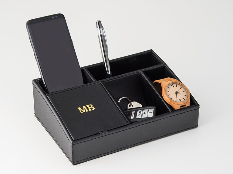Sleek faux leather desk caddy personalized with monogram