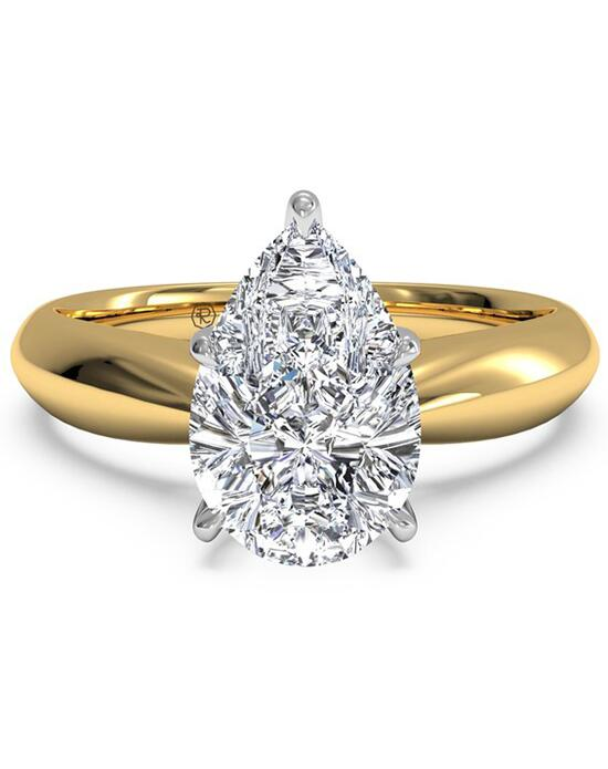 Ritani Solitaire Diamond Tapered Engagement Ring with Surprise Diamonds - in 18kt Yellow Gold (0.04 CTW) for a Pear Center Stone Engagement Ring photo