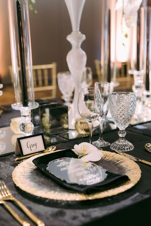 Dramatic Black-and-White Place Setting at Stein Eriksen Lodge in Park City, Utah