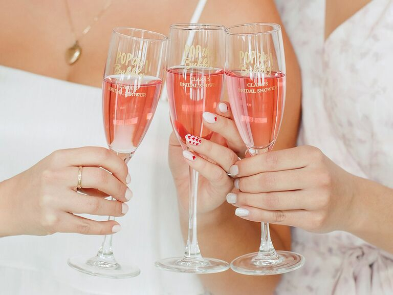 the knot shop personalized champagne glasses for paris themed bridal shower