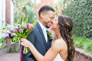 Bride and Groom at Wedding at 701 Whaley in Columbia, South Carolina