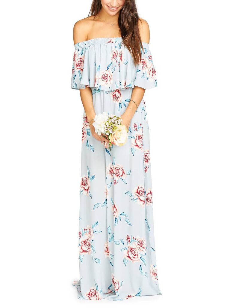 Off the shoulder floral print bridesmaid dress