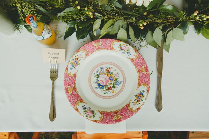 For an eclectic look, none of the pretty china plates matched during the reception meal at Quailcrest Farm in Wooster, Ohio.