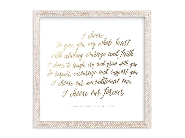 wedding vow art print
