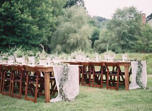 Long Farm Tables with Lace Runners and Garlands