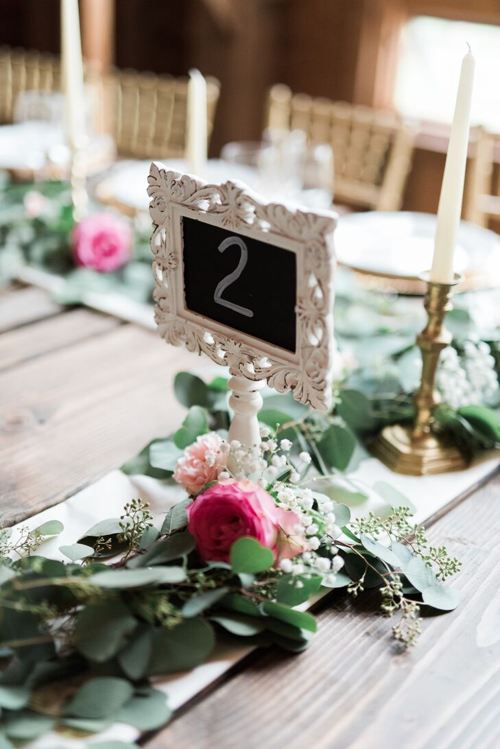 Rustic Chalkboard Table Numbers in a Vintage Frame