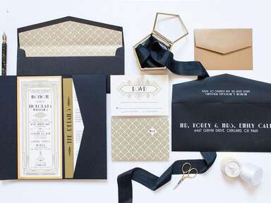 Art Deco gilded design and fonts with gold, black and white color palette