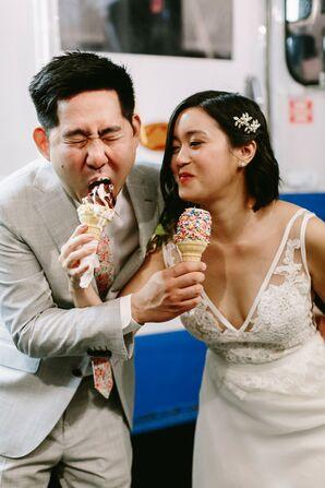 Couple Enjoying Late Night Mr. Softee Ice Cream Truck at Wedding at Sunny Atlantic Beach Club in Atlantic Beach, New York