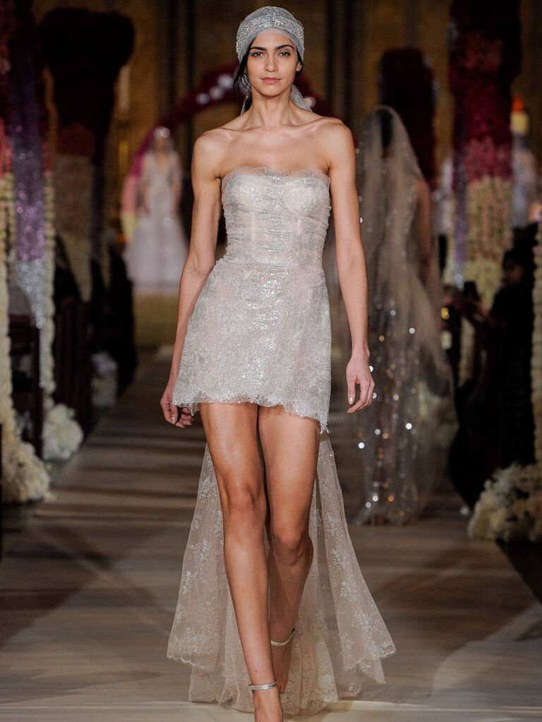 Reem Acra Spring 2020 Bridal Collection short wedding dress with long train