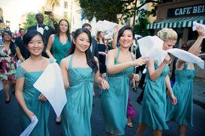 Sage Green Knee-Length Chiffon Bridesmaid Dresses