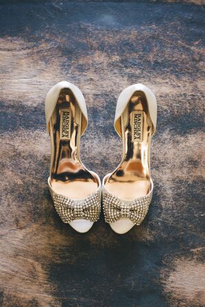 Gold Shoes with Bows, Badgley Mischka