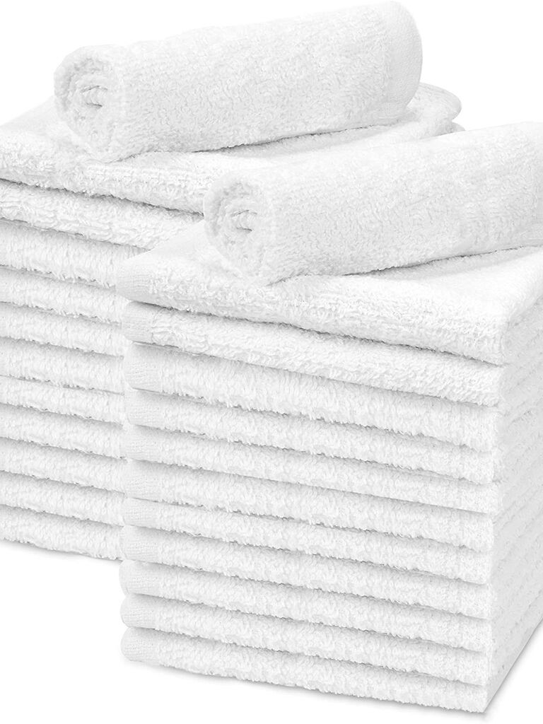 White cotton face cloths rainy wedding day towels