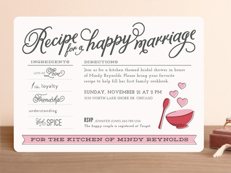 Recipe card design with pink details and loopy type on white background