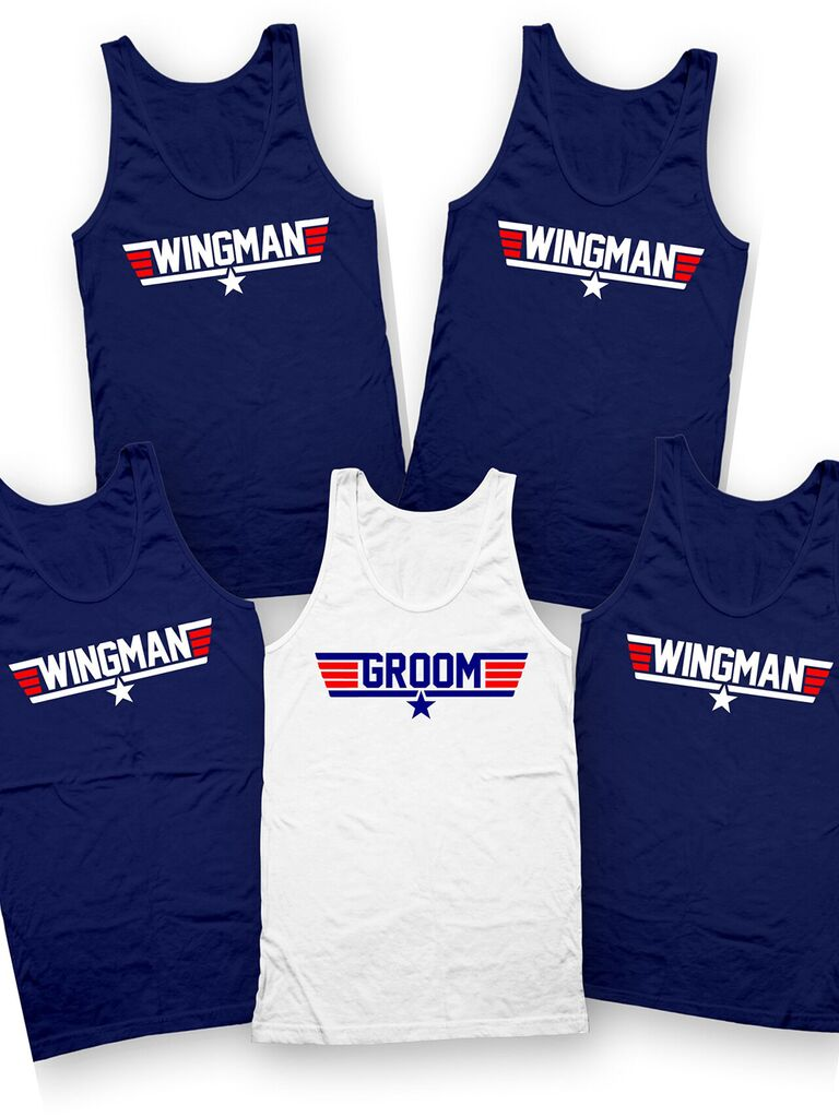 Red white and blue themed tanks in 'Wingman' and 'Groom'