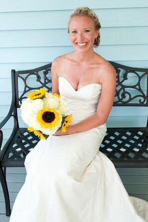 Strapless Champagne Paloma Blanca Wedding Dress