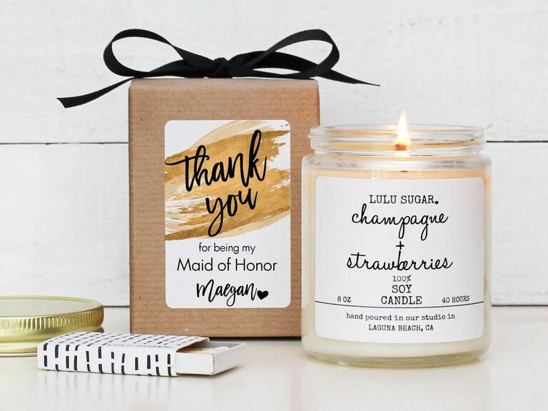 maid of honor thank you candle