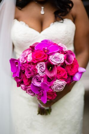 Classic Round Fuchsia Bouquet of Roses, Calla Lilies and Orchids