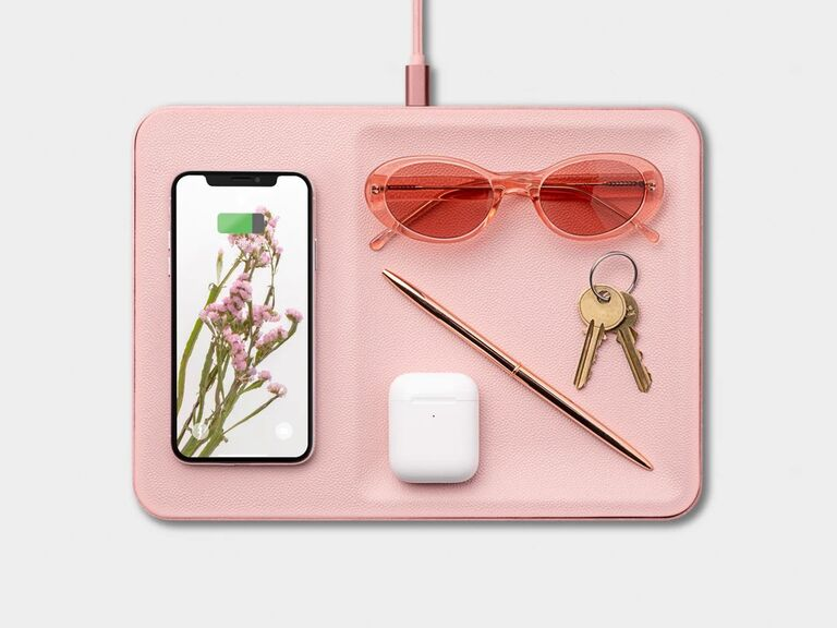 Pink wireless trinket charging tray gift for mother-in-law