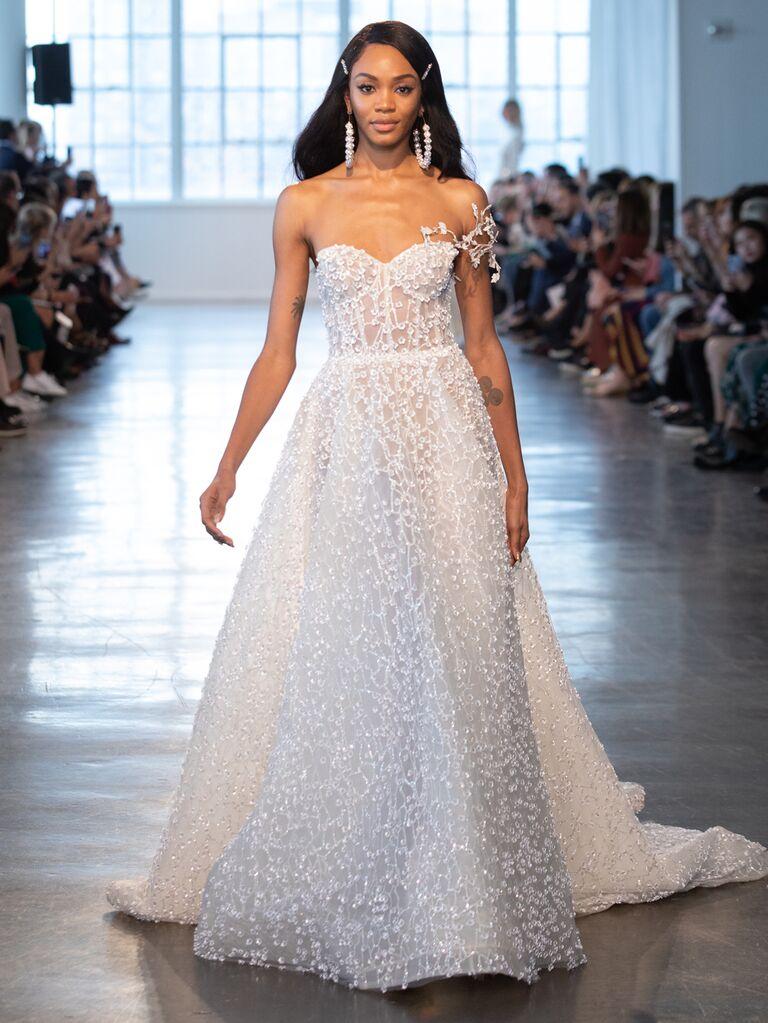 Berta Spring 2020 Bridal Collection asymmetrical A-line wedding dress
