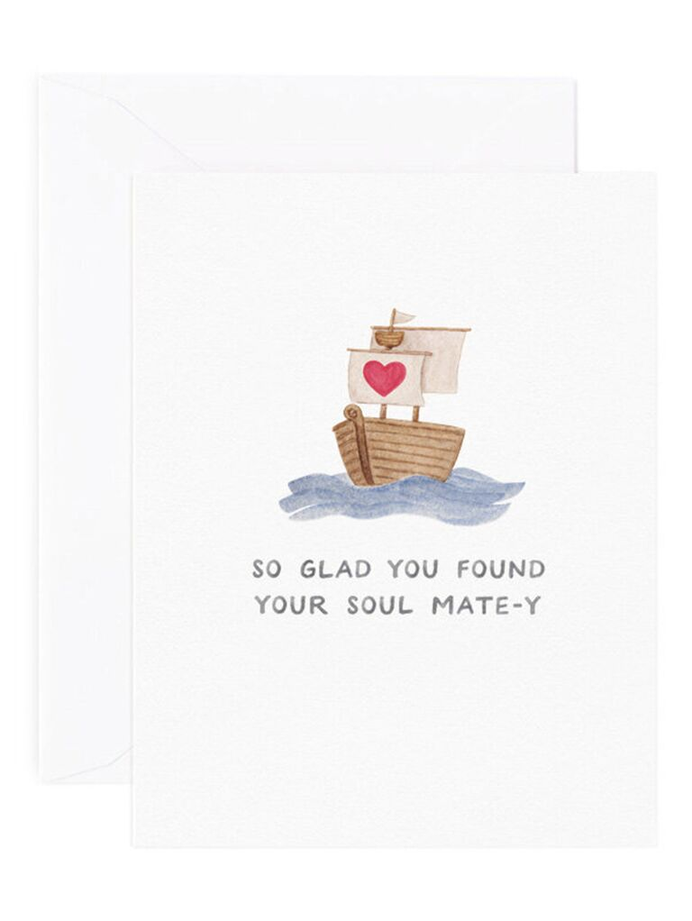 'So glad you found your soul mate-y' in gray watercolor and sailboat graphic with heart on flag