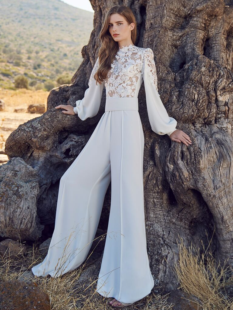Long Sleeve Flare Pant Wedding Jumpsuit