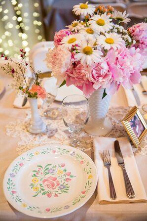 Vintage Pastel Floral Wedding Dinnerware