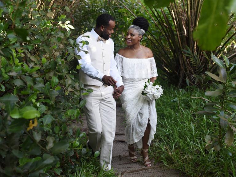 bohemian off-the-shoulder wedding dress