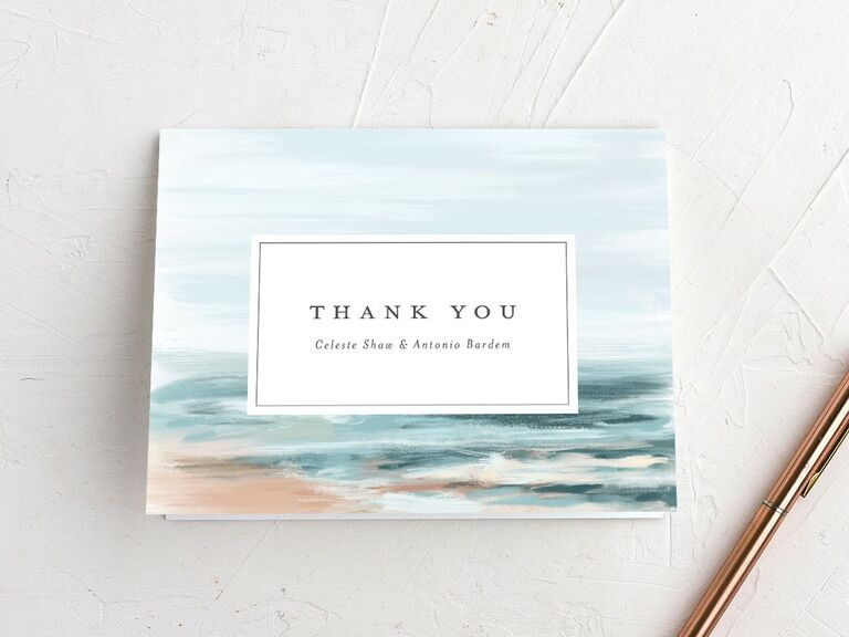 Beautiful illustrated beach thank-you card