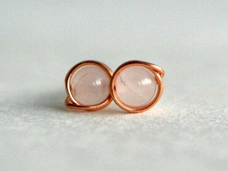 Dainty copper and rose quartz stud earrings
