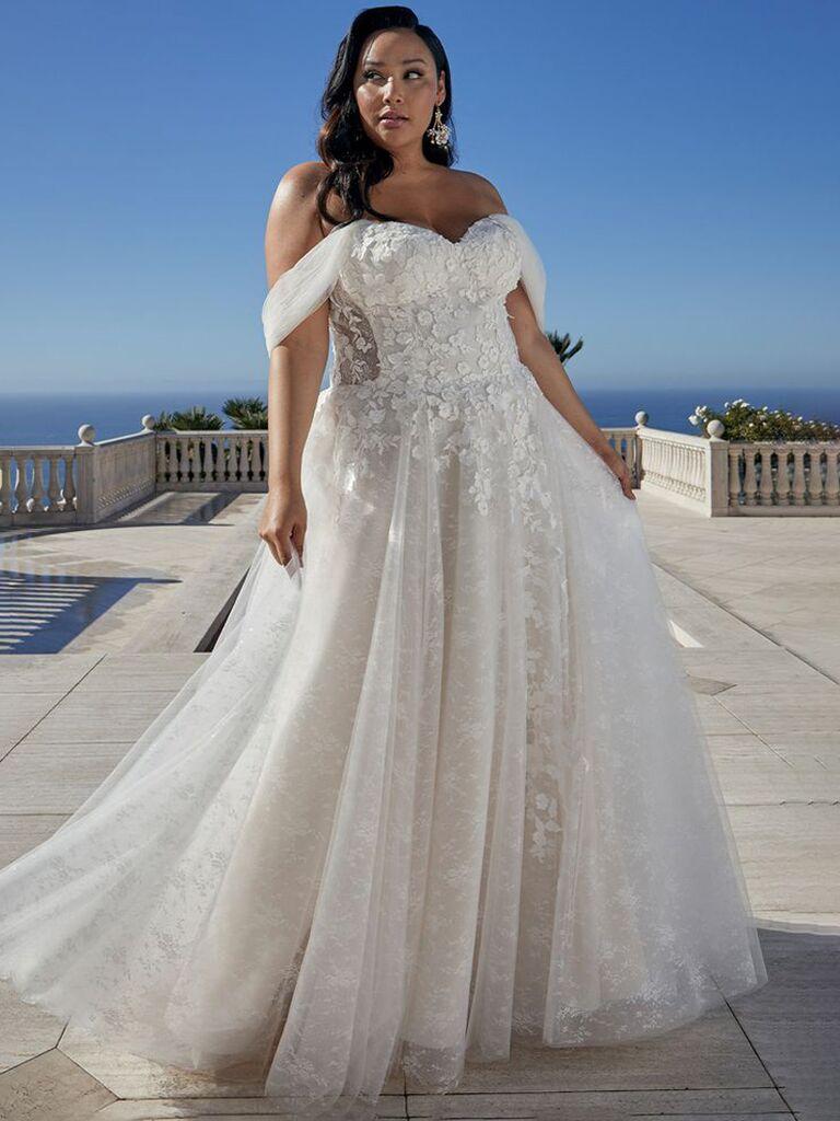 casablanca cô dâu váy cưới trắng lệch vai với ren cổ yếm ngọt ngào và áo choàng bóng xếp ly váy tulle váy cưới màu trắng đẹp