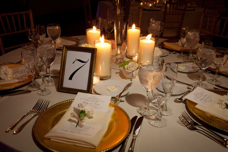 Gold, ivory and blush accents were incorporated into each place setting. Gold chargers and table frames were off set with ivory menu cards, candles and carnations.