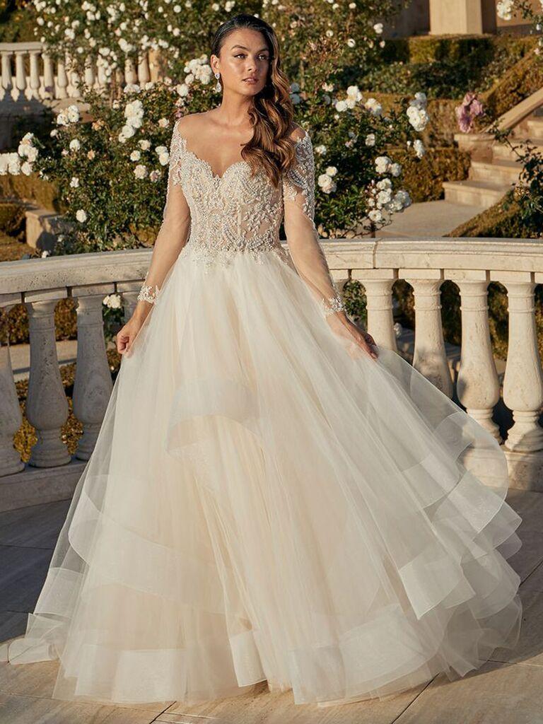 casablanca rượu sâm banh cô dâu váy cưới lệch vai với đường viền ren ngực người yêu và váy dạ hội vải tuyn váy cưới màu trắng đẹp