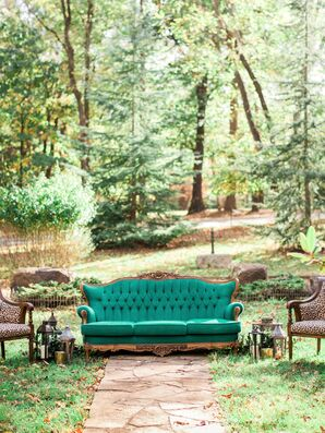 Vintage Turquoise Couch, Ceremony Seating