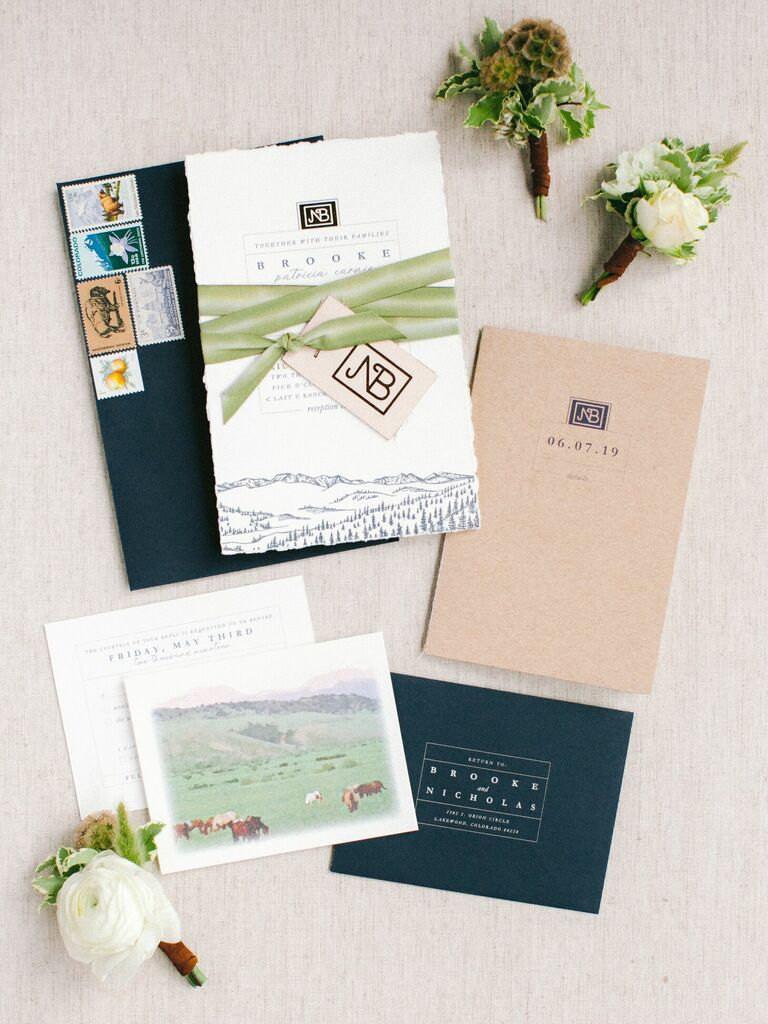 Rustic green-and-navy wedding invitation suite