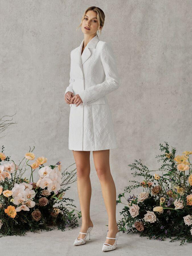 Alexandra Grecco Poppy floral brocade blazer dress